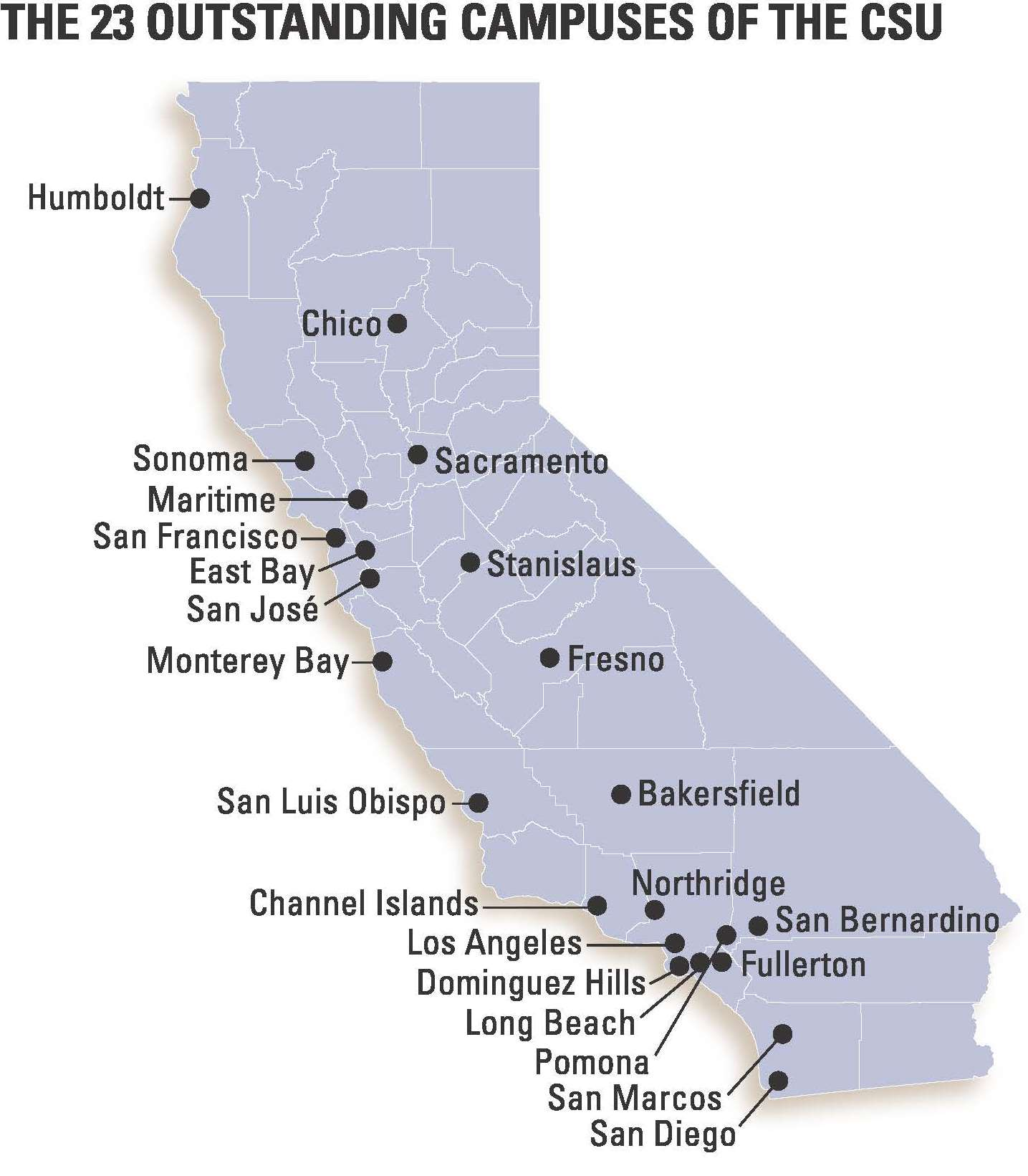 A Map of California Counties and Locations of the 23 CSU Campuses.