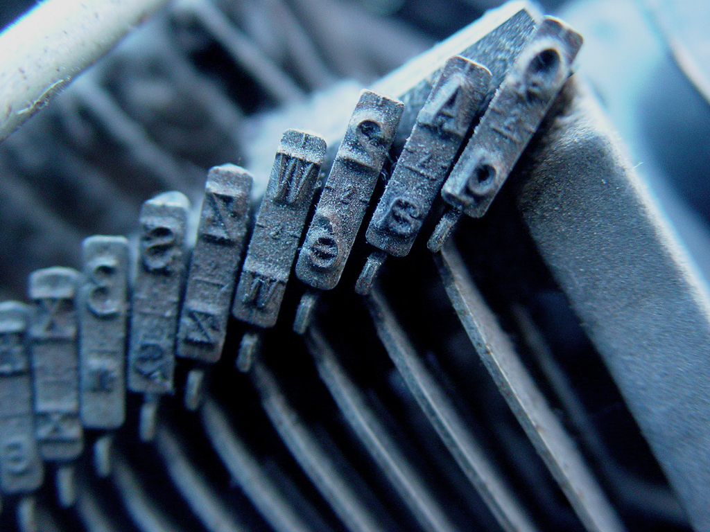 Image of old typewriter keys.