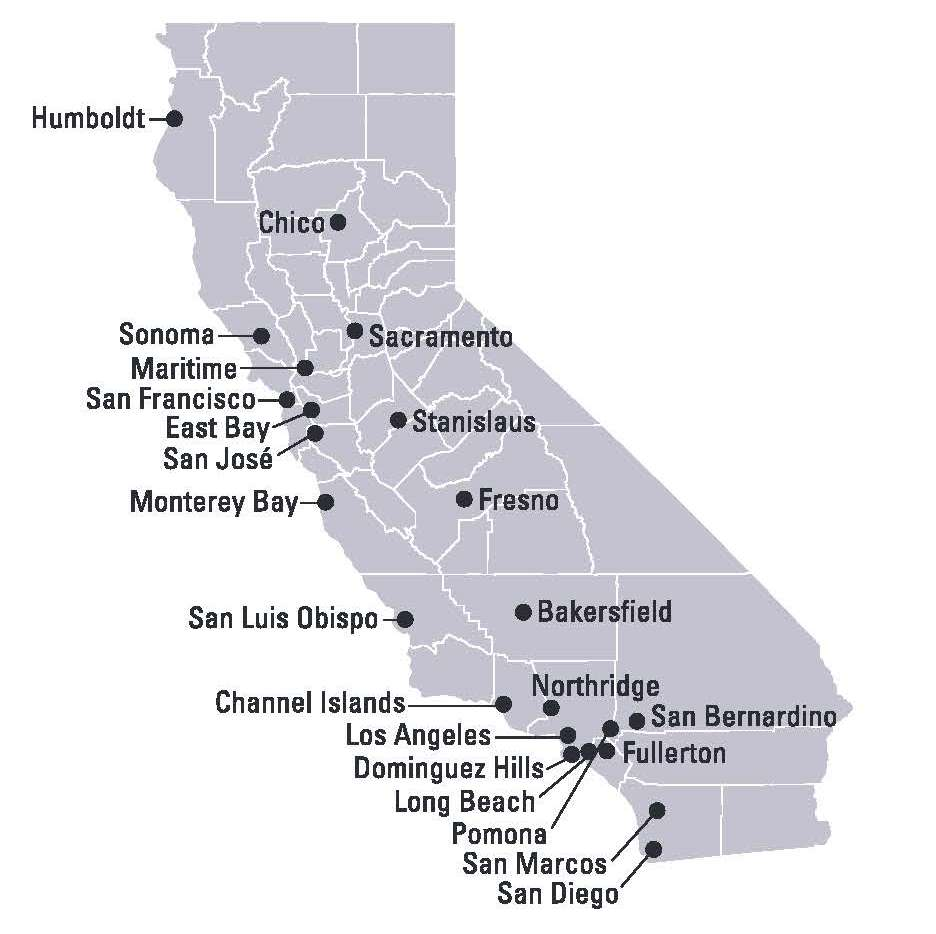 Image of California map showing placement of each CSU campus