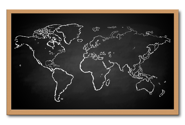 Image of the world-map on a chalkboard
